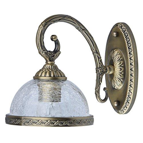 MW-Light 481021901 Applique Murale Design Classique en Métal couleur Bronze Antique Abat-jour en Verre Craquelé pour Chambre Salon Couloir 1x60W E27