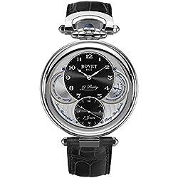 BOVET Men's Fleurier 19 Thirty 42mm Black Alligator Leather Band Steel Case Mechanical Watch NTS0005