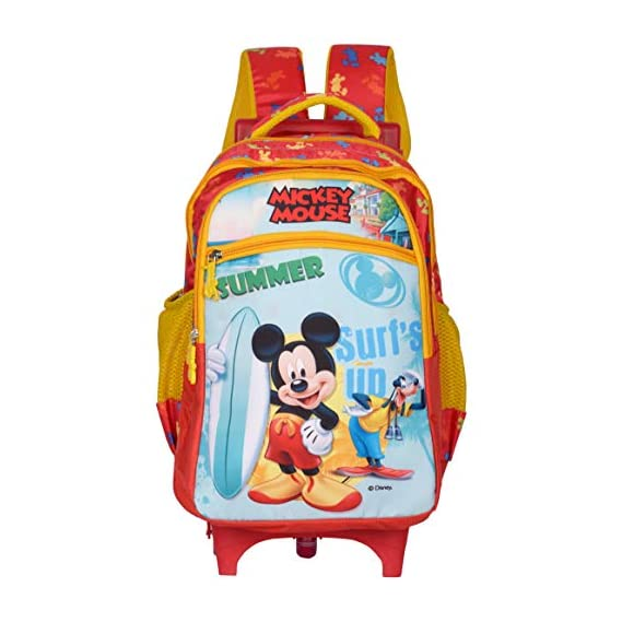 Disney School Bag, Backpack Cum Bag with Trolley/for Boys & Girls 07+ Years Mickey Mouse Summer Surfing Straight Chain 31 (L) Polyester (Dat-700-08), Colour: Red