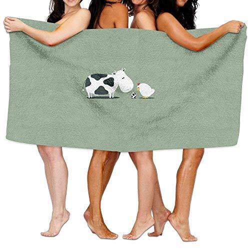 Funny Farm Tiere Hühner Kuh Ei Strand Handtücher Ultra saugfähig Mikrofaser Badetuch Picknick Matte für Männer Frauen Kinder