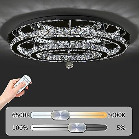 JDONG Hochwertige LED Kristall Deckenleuchte Deckenlampe 60W Diamant Style Kronleuchter Wohnzimmer Schlafzimmer Esszimmer Helligkeit und Farbtemperatur dimmbar mit Fernbedienung (silber) Oval Form 10816-60W-WJ