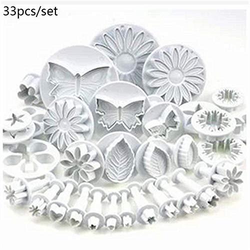 33 Stück Fondant Kuchen Formen Fondant Kuchen Plunger Ausstecher Sugarcraft Blume Blatt Schmetterling Herz Form Dekorieren DIY Werkzeuge