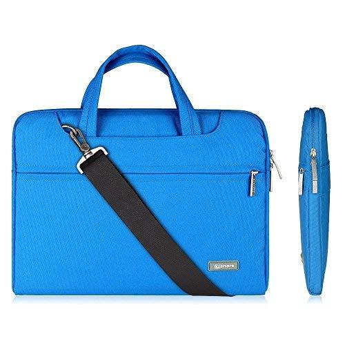 Qishare 13.3-14 -Zoll-Laptoptasche, Wasserdichte multifunktionale Polyester-Laptoptasche, Verstellbarer Schultergurt und unterdrückter Griff, tragbarer Dokumentenordner(13,3-14 Zoll, Blau)