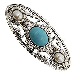 1928 Jewelry Silver-Tone Imitation Turquoise and Simulated Pearl Barrette