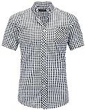 JEETOO Klassics Herren Slim Fit Bügelleicht Kariert Kurzarm Bluse Freizeit Hemd Baumwolle Button-down Super Modern super Qualität Shirt (Medium, Schwarz und Weiß)