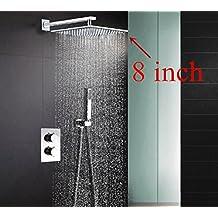 304in acciaio INOX quadrato 20,3cm o 25,4cm o 30,5cm o 40,6cm pioggia doccia miscelatore termostatico per doccia, set doccia SS001 8 inch