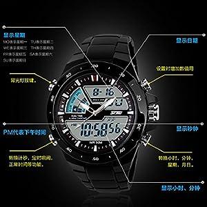 Culater® Pantalla Doble FuncióN Multi Impermeable Masculino Llevó Reloj Deportivo De Alarma