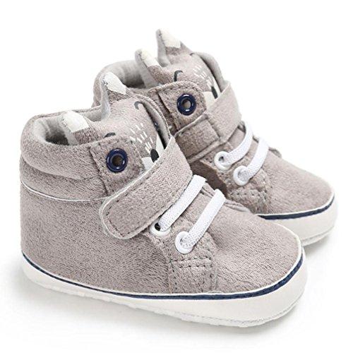 Bild von FNKDOR Baby Mädchen Jungen Fuchs Lauflernschuhe Rutschfest Canvas Schuhe Stiefel (6-12 Monate, Grau)