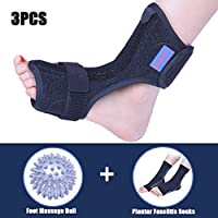 Plantar Fasciitis Dorsal Night Splint for Heel Pain Relief -Foot Drop Orthotic Brace for Sleep Support with Plantar Fasciitis Socks & Hard Spiky Massage Ball Fits Left and Right Foot (S/M)