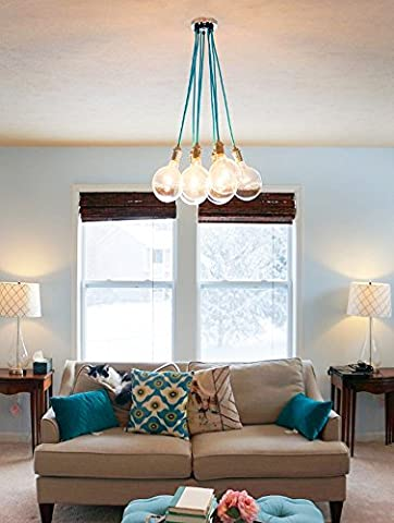 FSLiving 9 Cluster Hanging Pendant Light Chandelier Modern Lighting Cloth Cords Industrial Pendant Lamp Ceiling Fixture Light Blue Color Wire