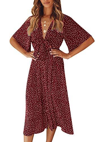 Yidarton Sommerkleid Damen V-Ausschnitt Polka Dot Midikleid Knielänge Vintage Boho Kurzarm Strandkleider (Rot, L) Rot Polka Dot Polyester