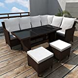 Anself Poly Rattan Garden Sofa Lounge Set Corner Sofa Table Outdoor Furniture Brown 16 Pcs