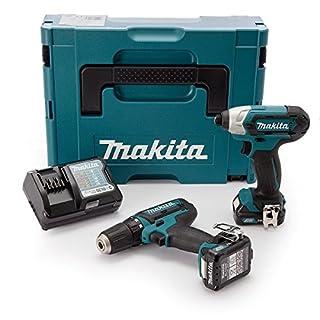 Makita CLX201AJ 2 Piece Cordless Kit 10.8V CXT Li-ion (2 x 2.0Ah Batteries), 10.8 V, Blue, Large