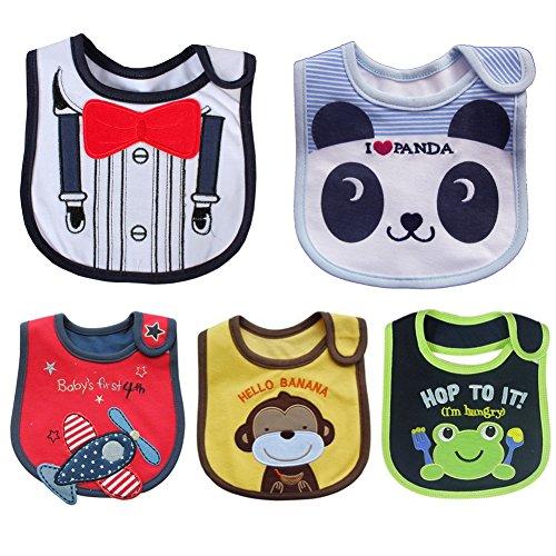 ElecMotive® Lot de 5 bavoirs pour bébé fille et garçon Doux Imperméable Cotto Pour nouveau-né Étanche avec fermeture Velcro 3-36 mois