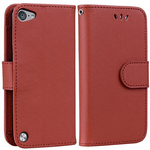 Yunbaoz iPod Touch 5/6 Lederhülle Rein Farbe Wallet Case Hülle Braun (Wallet Männer Case Ipod Für 4)