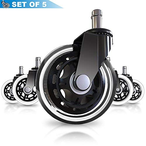 Bürostuhl Caster Wheels (Set von 5)-Heavy Duty & Safe für alle Böden auch Hartholz-Perfekt Ersatz für Schreibtisch Bodenschutzmatte-Rollerblade Stil, W/Universal für