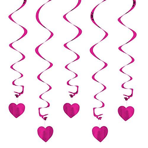 Oblique-Unique Deckenhänger Spiral Girlanden mit Herzen - Farbe wählbar (Pink)