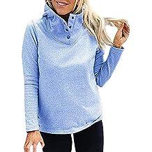 Mujeres Sólido Collar de Soporte Manga Completa Cálido Botón Prendas de Abrigo Sudadera Blusa Tumblr Sudaderas