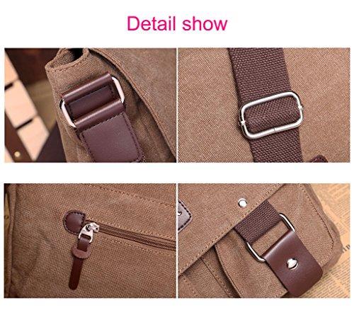 Supa Moden Leinwand Messenger Bag Umhängetasche Laptop Bag Vintage Umhängetasche aus Segeltuch Tasche Arbeiten Tasche Umhängetasche für Männer und Frauen Blau