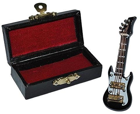 Miniatur E-Gitarre / Bassgitarre mit Kasten - Holz Maßstab 1:12