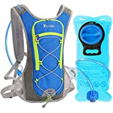 Mochila Hidratacion con 2L Bolsa de Agua, DeFe 5L Pack Mochila Trail Running para Ciclismo Bicicletas Correr Marathoner Senderismo Excursionismo (Azul)