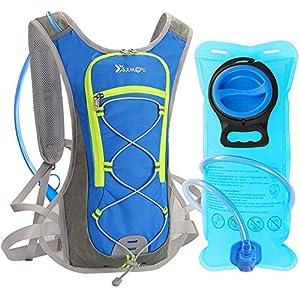 DeFe Trinkrucksack mit 2L Trinkblase, Ultralight Laufrucksack mit Trinksystem für Radsport, Laufen, Joggen, Wandern, Radfahren, Camping, Bergsteigen und Marathon