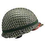 US M1 Military Steel Helm, perfekte WW2 US Army M1 Green Helm Replik mit Net/Canvas Kinnriemen DIY Malerei