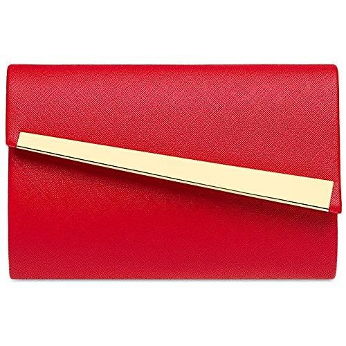 CASPAR TA418 Damen Metallic Baguette Clutch Tasche Abendtasche, Farbe:rot;Größe:One Size