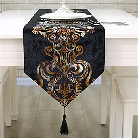 Luxury gold flower embroidered floral table runners black tapestry 33cm