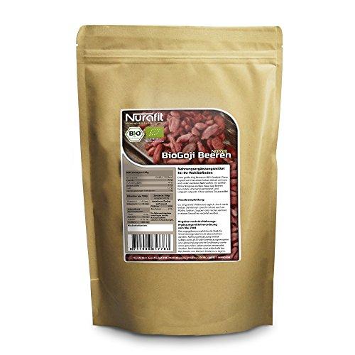 NuraFit BIO Goji Beeren | 500g / 0.5kg | ungeschwefelt | nährstoffreiches Superfood | naturbelassen | ohne Zusätze | zertifizierte Premiumqualität nach DE-001-ÖKO