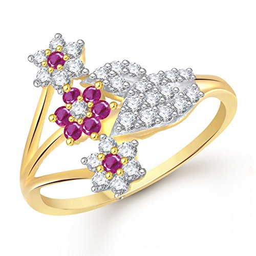 Meenaz Ruby Ring 24k Fancy Flower Party Wear Ring South Indian Traditional...