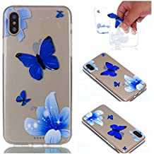iPhone X Coque, iPhone X Coque Protection, BONROY® Housse Silicone Portable Premium Case Cover Ultra-Fine Souple Gel TPU Bumper Poussiere Resistance Anti-Scratch Coque Housse Pour iPhone X - Bleu papillon