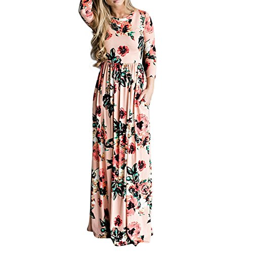 Lover-Beauty Damen Lang Schwarz Kleid Elegant Langarm O-Ausschnitt Blumen Boho Maxi Kleid Strandkleid Dress