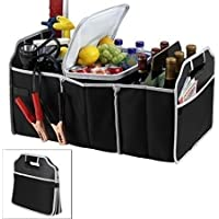 Octopus prime Car Trunk Organizer, Heavy Duty 3 Large Sections Collapsible Folding Storage Bin Foldable Trunk Storage Box Water Bottle Holder Grocery Bag