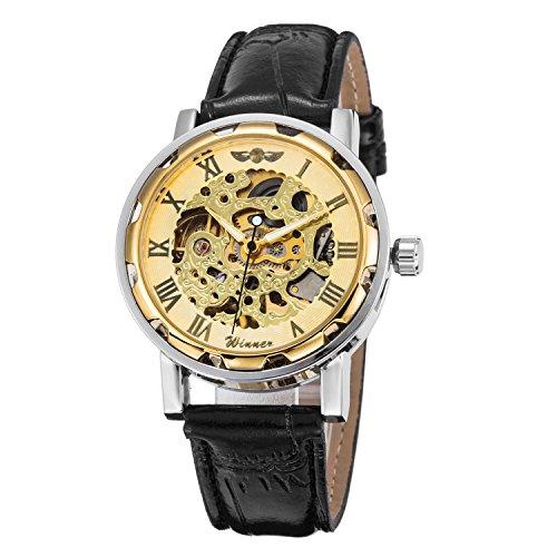 Gute Damen Herren Unisex Gold Automatik Skeleton Mechanik Armbanduhr Uhren