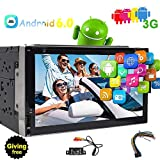 17,8 cm Android 6.0 Doppel DIN in Dash Radio-Empfänger KFZ Video Audio Bluetooth Autoradio 2 Din Auto DVD CD Player GPS Navigation Head Unit mit WiFi 3 G/4G System Telefon Link FM AM RDS + Power Kabel + reaversing Kamera