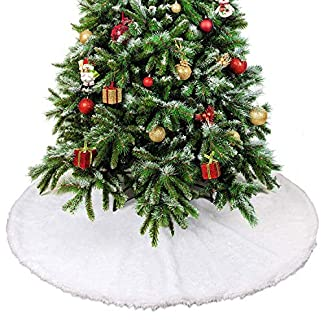 Falda de Árbol de Navidad, TERRA Snow White Fake Fur 90cm Diámetro Kit de Falda de Árbol Decoración Navideña