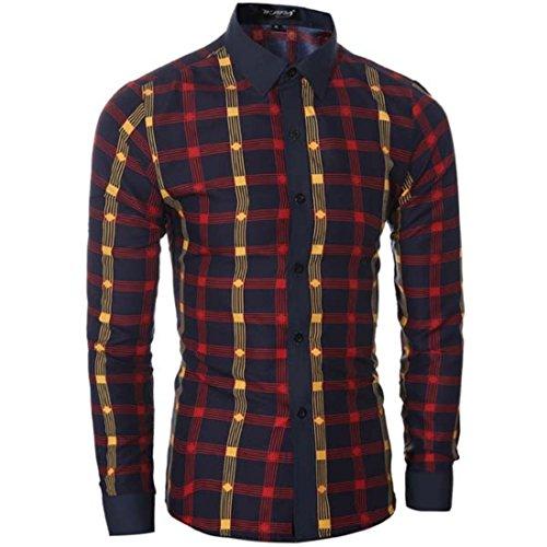 Men's Fashion Plaid Herren Hemden Slim Fit Shirts red