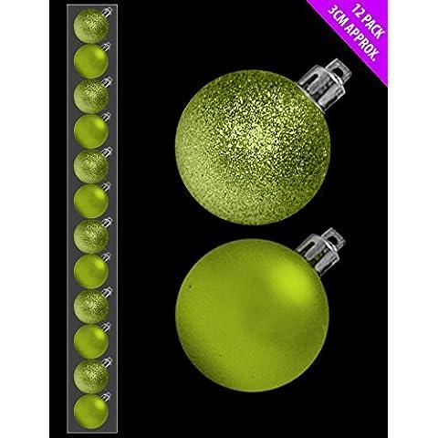 12 x 3cm Mini Natale Baubles - LIME GREEN - assortiti Matt + Glitter