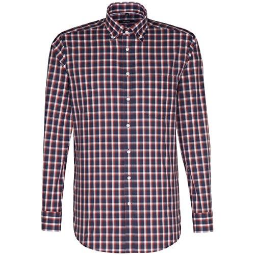 Seidensticker Herren Businesshemd Modern Langarm mit Button-Down-Kragen  Bügelfrei Kariert Mehrfarbig (Rot