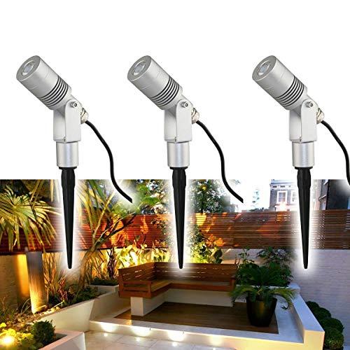 VBLED® 6W Gartenstrahler Gartenleuchte Komplettset 3000K Warmweiß IP65 12V inkl. Netzteil und Verbindungsstecker [Energieklasse A+]