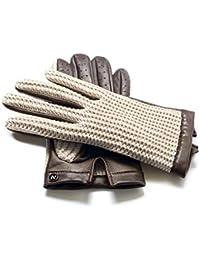 0d71595089dc64 napo gloves napoCROCHET - Touchscreen Lederhandschuhe für Herren,  klassische Autohandschuhe aus Lammnappa Leder in Braun