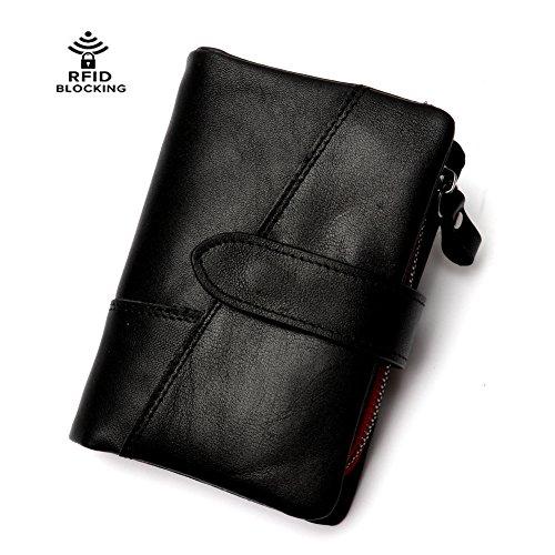 RFID Blocking Men's Wallet Textured Genuine Leather Bifold Cash Cards Coins Holder Retro Wallet with Detachable Zipper Pocket (Wallet Tri-fold Coin)