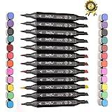 Magicdo Lot de feutres colorés à base d'alcool Art graphique Double pointe (pointe fine et pointe large) Parfaits pour esquisses, coloriages d'enfant, art graphique pour adultes, noir, 12 Colours Marker