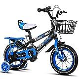 Kinderfahrräder , 2-9-jähriges Kinderfahrrad, Jungen-Mädchen-Pedal-Dreirad, Rahmen aus Kohlenstoffstahl, 4 Größen (12 Zoll / 14 Zoll / 16 Zoll / 18 Zoll) Blau (größe : 16 inches)