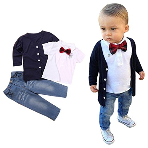 Kids Baby Boys Cute Coat + Shirts + Pants Outfits for 2-7 Years Old Clothes (3T, Navy)