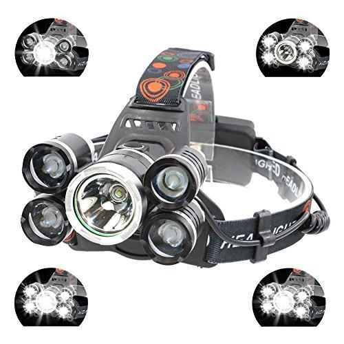Preisvergleich Produktbild Boruit LED Stirnlampe USB Kopflampe 5 x T6 LEDs Ultrahell Wasserdicht IPX4 3000LM zum Klettern, Radfahren, Angeln, Camping, Jade usw. mit EU-Stecker
