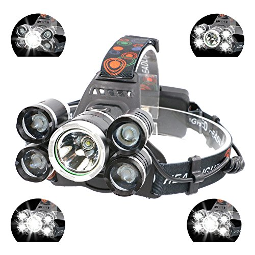 Boruit LED Stirnlampe USB Kopflampe 5 x T6 LEDs Ultrahell Wasserdicht IPX4 3000LM zum Klettern, Radfahren, Angeln, Camping, Jade usw. mit EU-Stecker