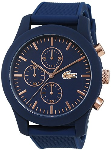 Lacoste 2010827 - Reloj analógico de pulsera para hombre, esfera con cronógrafo, correa de silicona,Azul(Azul/Rosa Oro)