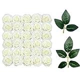 Fiori Artificiali, 50 Rose Artificiali in Schiuma con 10 Foglie Verdi Artificiali, Ideali per Bouquet da Sposa, centrotavola, Feste e Decorazioni per la Casa (Bianco)
